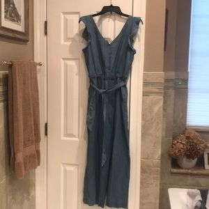 Loft chambray denim jumpsuit NWT
